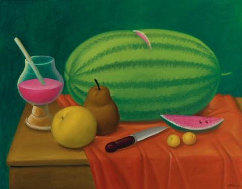 still life with fruit by fernando botero