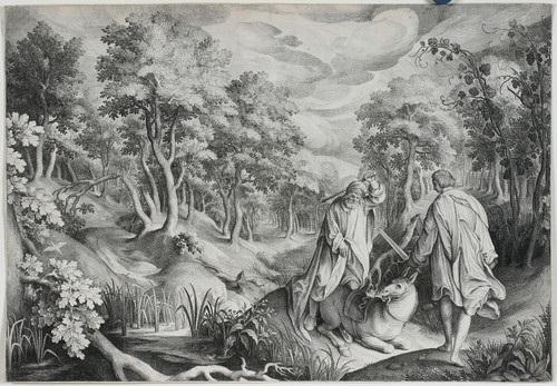 der engel des herrn und balaam bileam mit dem esel in großer landschaft by nicolaes de bruyn