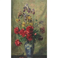 red peonies and iris in a blue and white vase by josef jungwirth