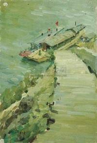 码头与船 by liu guoshu