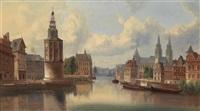 blick auf eine holländische stadt am kanal by ferdinand lepie