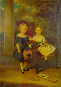 two children on a terrace by george duncan beechey