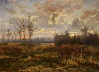 paysage d'hiver, étang en forêt by hugues françois vertet