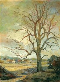tree at the edge of a pasture by john ter linden