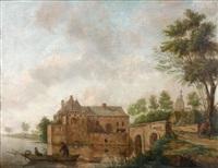 pêcheur au pied d'une maison forte by hendrik frans de cort