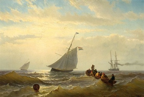 two fishing boats a steamboat and men in a flat boat on open sea by jacob willem gruyter