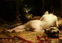 femme étendue au harem by henri van melle