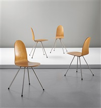 stacking tongue chairs, model no. 3106 (set of 4) by arne jacobsen