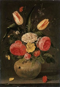 roses, tulips, carnations and other flowers in a stoneware vase with ornamental relieves on a stone ledge by clara peeters