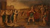 le retour de jephthah à mizdah, accueilli par sa fille jouant du tambourin by frans francken the younger
