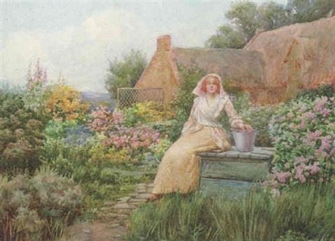 young lady seated in a cottage garden by william f ashburner