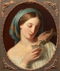 jeune femme à la tourterelle by alexandre-francois caminade