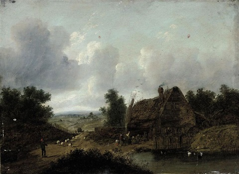 figures beside a cottage a pool in the foreground and a shepherd driving his flock along a country road by patrick nasmyth