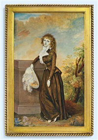 mrs robert graham, in a landscape, leaning against a stone pillar, in brown riding habit, frilled white cravat, holding a cream hat with white plumes... by diana dietz hill