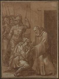 roi à genoux devant un ermite by livio (il ricciutino) agresti