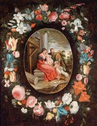 eine blumengirlande um eine kartusche mit der darstellung der heiligen familie mit dem johannesknaben by jan brueghel the younger