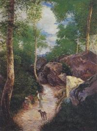 promenade en forêt by alfred hector david-riquier