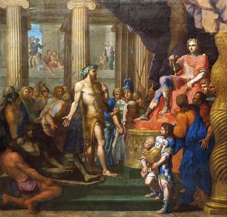 dinocrate présente à alexandre son projet pour le mont athos by jean baptiste corneille