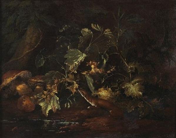 nature morte de sous bois avec une belette by niccolino van houbraken