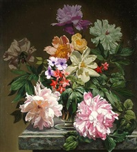 peonies with other flowers by bennett oates