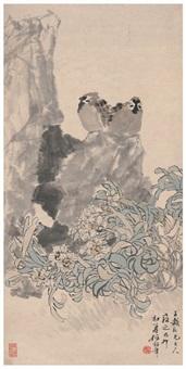 水仙双雀图 by ren bonian