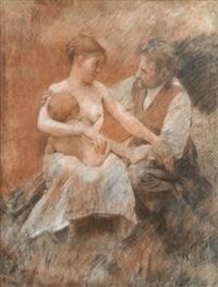(autoportrait?) à la maternité by alfred roll