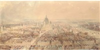 view of london from the steeple of st. bride's church, fleet street looking towards st. paul's cathedral by thomas allom