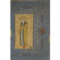 a portrait of a standing youth with a gold robe by reza-i abbasi