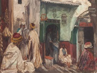 merchants in oriental alley by georg macco