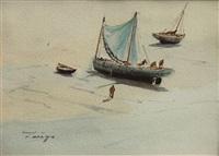 barques sardinières, les pêcheurs by pierre brette
