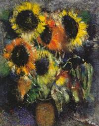 sonnenblumen in expressiver farbigkeit by erhard theodor astler
