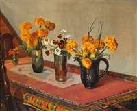 flowers on a table in the family home, markvej, skagen by helga ancher