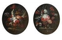 natures mortes de bouquets de fleurs sur un entablement (pair) by pieter casteels iii