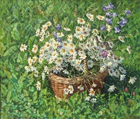 daisies and bell flowers in a basket on a green field by camilla göbl-wahl