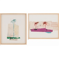 1. untitled (blue palm tree), 2. untitled (two red palm trees on violet) (2 works) by karl bohrmann