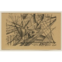 simultaneous death of a man in an aeroplane and on the railroad (from explosion) by kazimir malevich