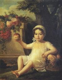 portrait d'enfant à la corbeille de fruits dans un paysage by lucille foullon