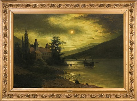 nocture with a castle over the lake by fritz chwala