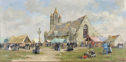 bretonisches dorffest mit blick auf eine kirche by léo pernes