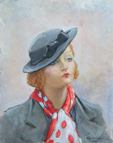 portrait de jeune femme au chapeau by edgar chahine