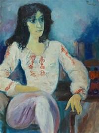mujer sentada by leopoldo presas