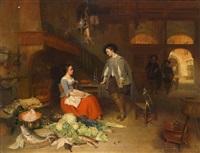 niederländisches kücheninterieur mit einem jungen herrn im gespräch mit einer jungen frau, im vordergrund großes gemüse- und fischstillleben by hubertus van hove