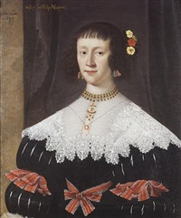 portrait of a lady (lady musgrave, wife of sir philip musgrave?) in a black dress with a lace collar with red ribbons at her waist and sleeves, flowers in her hair by gilbert jackson