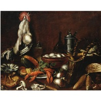 natura morta con gamberi, ortaggi, gallo e boccale by bartolomeo arbotori