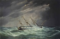 the emigrant ship carnatic of boston in a hurricane in the indian ocean on a voyage to calcutta, under the command of captain john devereux by duncan mcfarlane