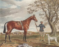 a groom with a bay hunter and a dalmation in an extensive landscape by george algernon fothergill