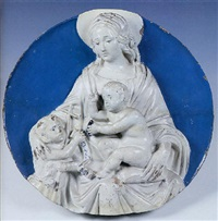madonna col bambino benedicente e san giovannino by luca della robbia
