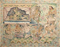 a balinese mythological scene by ida bagus made nadera