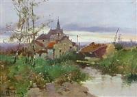 village en bord de rivière by eugène galien-laloue