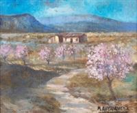paisaje con almendros by manuel avellaneda
